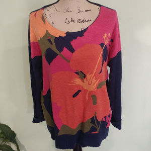 TOMMY BAHAMA LARGE TROPICAL FLOWER SWEATER SZ LG